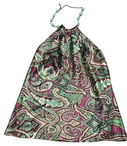 INC International Concepts multi teal/paisley purple Halter Top