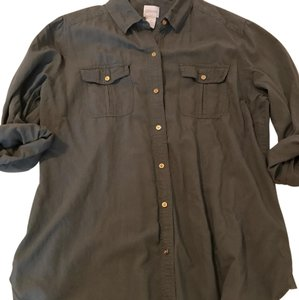 Chico's Button Down Shirt olive or army green