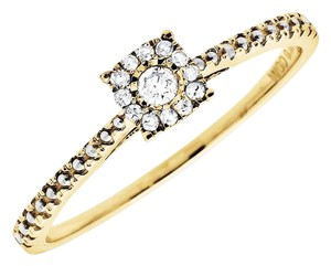 Other Square Halo Diamond Beaded Shank Engagement Ring (0.12ct)