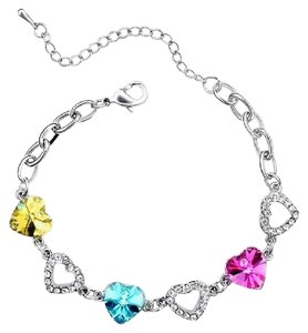 Other Love Heart Swarovski Crystal Bracelet in White Gold Plated