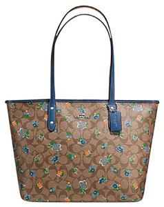 Coach Satchel F34103 36876 Tote in Brown Blue Floral