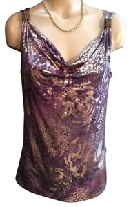 Ellen Tracy Top Purple & Gold