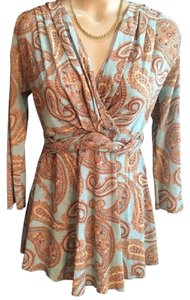 Sweet Pea by Stacy Frati Top Blue & Tan