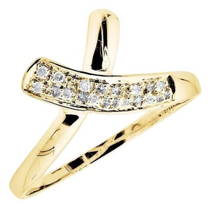 Other 10K Yellow Gold Bow Criss-Cross Genuine Diamond Band Ring 0.07ct