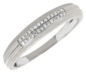 Other Mens Two Rows Genuine Diamonds 4.5MM Band Wedding Ring 0.15ct.
