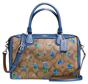 Coach F36689 Bennett Crossbody 36702 Satchel in SILVER/KHAKI BLUE MULTI