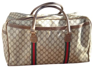 Gucci Gg Duffle Carry-on Gucci Monogram, Red & Green Web Travel Bag