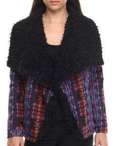 MINKPINK Faux Fur Jacket Colorful Print Cape