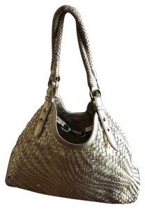 Cole Haan Woven Leather Hook Closeure Tote in Gold