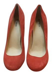Express Suede Coral Pumps