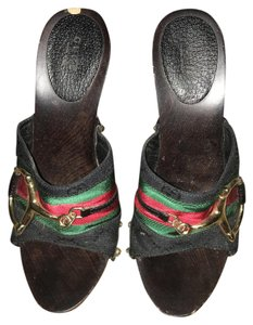 Gucci Black, red and green Mules