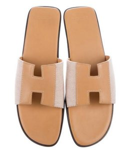 Hermès Constance Birkin Kelly Evelyne Oran HERMES Slides Size 11 with Orange Box Flats