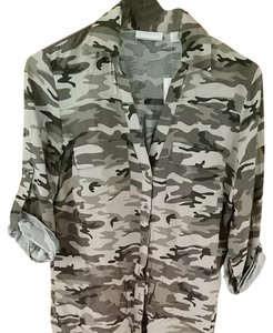 New York & Company Button Down Shirt Camouflage