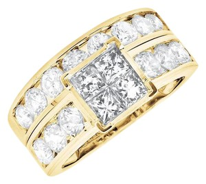 Other Invisible Set Princess Real Diamond Engagement Bridal Ring Set 3.0ct