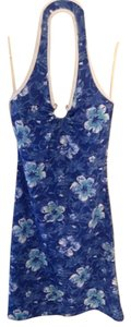 short dress Blue Summer Beach Flower Halter on Tradesy