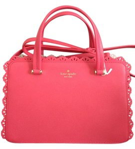 Kate Spade Leather Ruffle Perforated Lace Edge Satchel in Pink