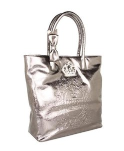 My Flat in London Metallic Leather Bow Embellished Tote in Platinum Silver