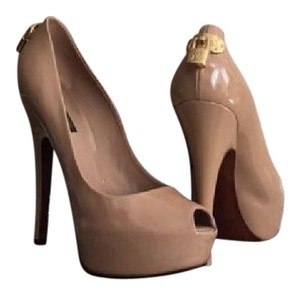 Louis Vuitton Oh Really Lock Peep Toe Pumps Beige Platforms
