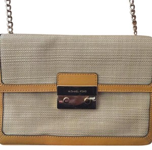 Michael Kors straw and yellow accents and gold chain strap Clutch