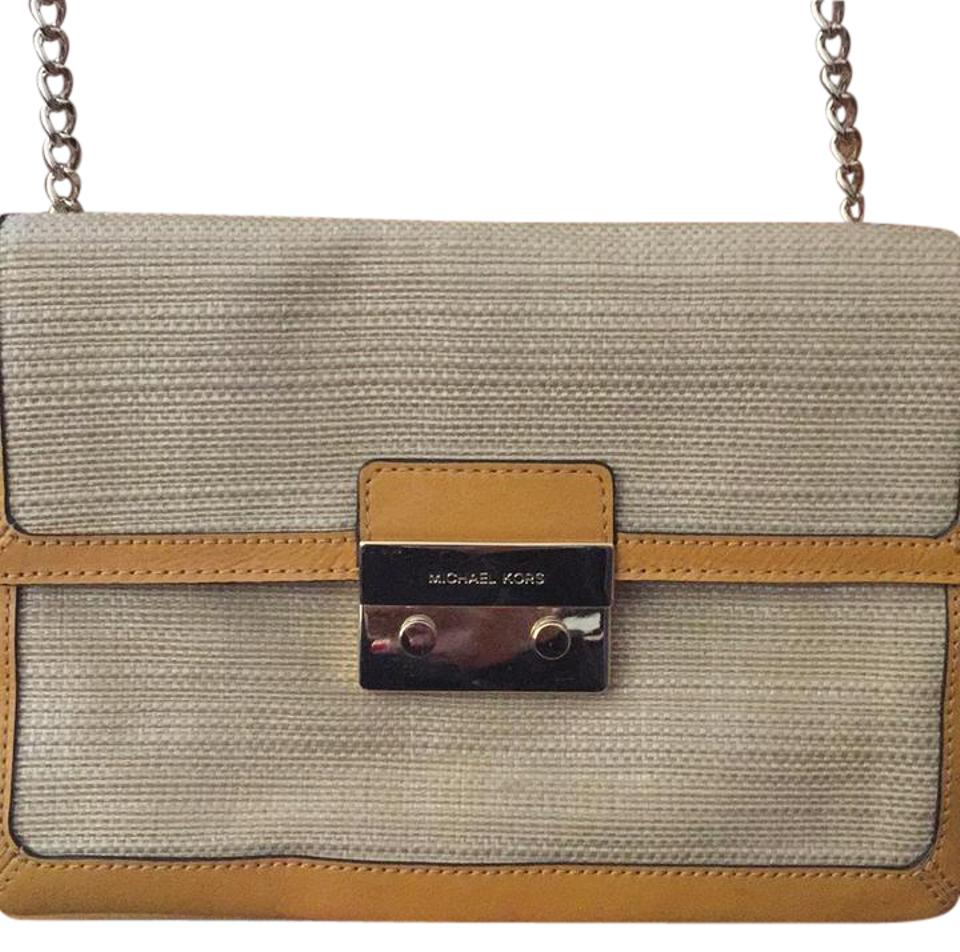 23c6e5465a2cb Michael kors sloan straw and yellow accents and gold chain strap clutch jpg  960x952 Michael kors