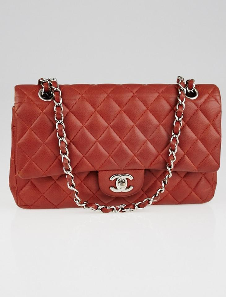 3558c12cc65b Chanel Classic Flap Quilted Caviar Classic Medium Double Red Leather ...