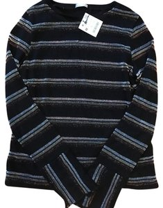Zara Top Black with copper, silver and gold stripes