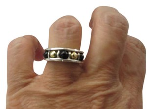 Lagos Caviar 3mm SS Black Onyx/18k Gold Bead Stackable Ring; Size 6.75