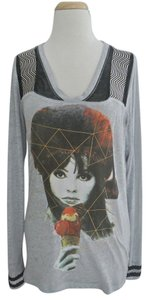 Custo Barcelona Long Sleeve Print V Neck T Shirt gray