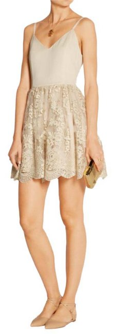 Item - Gold and Cream Ballerina Mid-length Cocktail Dress Size 0 (XS)