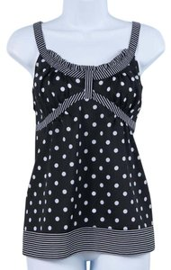Ann Taylor LOFT Polka Dot Stripes Summer Flirty Spring Top Black/White