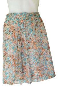 J.Crew Silk Chiffon Floral Pleated Skirt Multi-Color