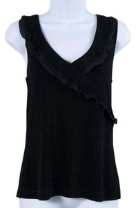 Chico's Sleeveless Ruffle Flirty Spring Summer Top Black