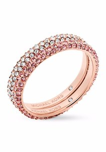 Michael Kors Michael Kors Rose-Gold-Tone Color Rush Stacking Rings Set { Size: 7 }