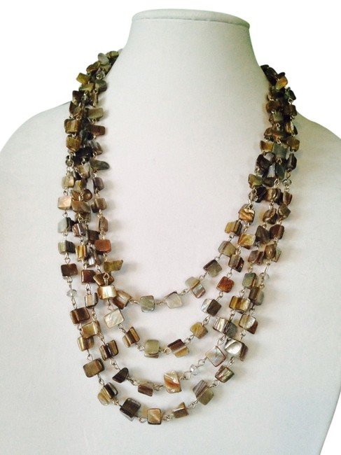 Kenneth Cole Earth Tones Silver-tone Shell Chip Bead Multi-row Necklace Kenneth Cole Earth Tones Silver-tone Shell Chip Bead Multi-row Necklace Image 1