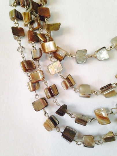 Kenneth Cole Silver-Tone Shell Chip Bead Multi-Row Necklace