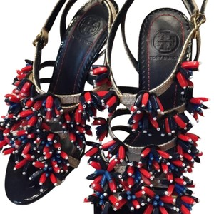 Tory Burch Red blue& white Wedges