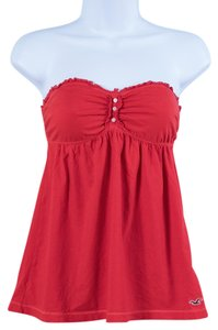 Hollister Strapless Summer Flirty Spring Top Deep Coral