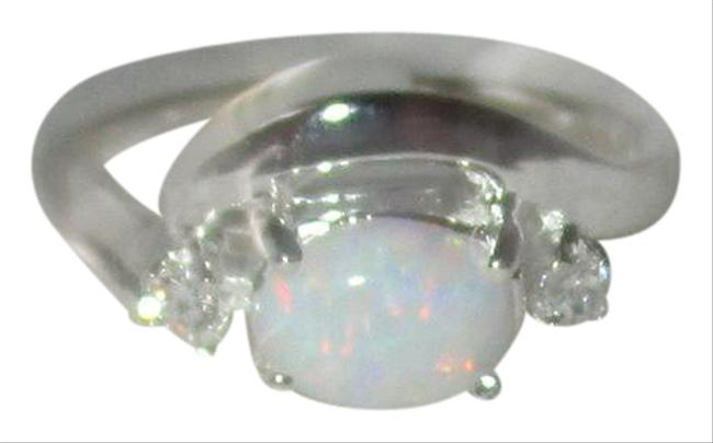 Item - White Opal Sterling Silver Real Clear Cz Accents Size 5 6 7 8 9 Ring