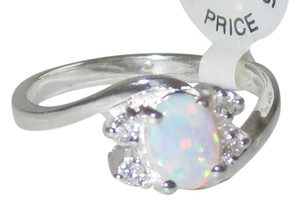 J Brand Sterling Silver REAL WHITE OPAL Clear CZ Accents RING SIZE 5 6 7 8 9