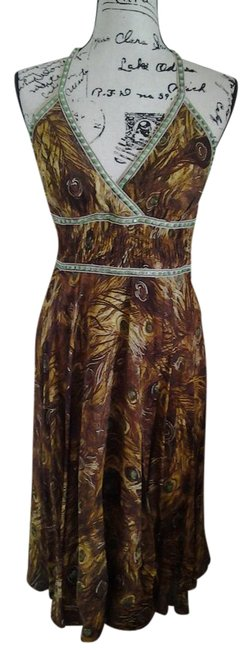 Item - Gold Brown and Green Peacock Print Mid-length Night Out Dress Size 6 (S)