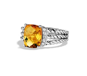David Yurman Petite Wheaton Ring with Citrine and Diamonds
