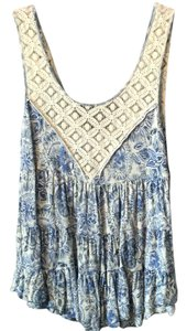 Free People Top light blue and white