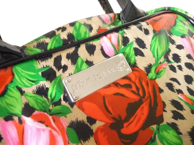 Item - Wild Roses Accessory Multi-colored;red Black Green Tan and Fuscia Pvc Canvas Weekend/Travel Bag