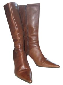 Bronx Calf Length Red Fabric Lining Elegant Brown Boots