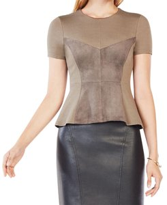 BCBGMAXAZRIA Nwt Faux Suede Peplum Top Dark Fatigue