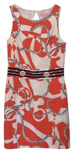 Lilly Pulitzer short dress Coral, navy blue, white, with gold accents on Tradesy