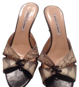 Manolo Blahnik black & cream Mules