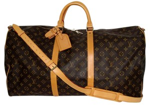 Louis Vuitton Duffle Bandouliere 60 Keepall Luggage Travel Brown Travel Bag