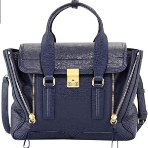 3.1 Phillip Lim Leather Edgy Designer Textured Leather Satchel in navy