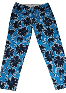 J.Crew Flowered Summer Stretch Capri/Cropped Pants blue, white, black